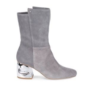 H by Halston Ryan Silver Heel Mid-Calf Boots